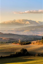 Toscana, prados, campo, pôr do sol, itália