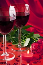 Preview iPhone wallpaper Two cups of wine, red roses, love hearts, Valentine's Day
