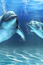 Preview iPhone wallpaper Two dolphins, underwater, bubbles, art picture