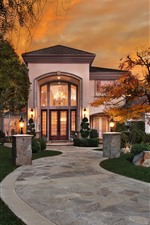 Preview iPhone wallpaper Villa, house, mansion, trees, lights, garden, night