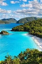 Preview iPhone wallpaper Virgin Islands National Park, sea, trees, beach, yacht