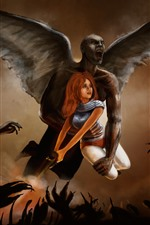 Preview iPhone wallpaper Wings, demon, girl, art picture