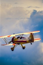 Avião Amarelo, Voo, Céu, Nuvens