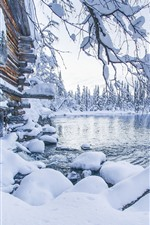 Preview iPhone wallpaper Akaslompolo, Finland, thick snow, trees, lake, winter