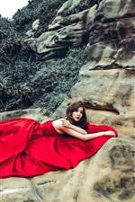 Preview iPhone wallpaper Asian girl, red skirt, pose, rocks