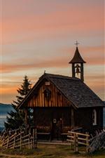 Preview iPhone wallpaper Austria, church, house, mountains, trees, dusk, Alps