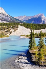 Preview iPhone wallpaper Banff National Park, Bow River, mountains, trees, Canada