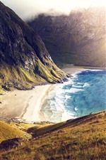 Preview iPhone wallpaper Beach, sea, mountains, sunshine, fog