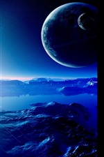 Preview iPhone wallpaper Beautiful space, planets, stars, water, lake, creative design picture