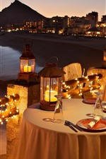 Preview iPhone wallpaper Candlelight, restaurant, dinner, sea, night