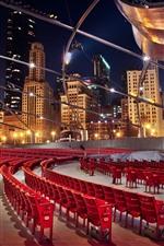 Vorschau des iPhone Hintergrundbilder Chicago, rote Stühle, Nacht