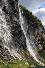 Preview iPhone wallpaper Cliff, mountain, rocks, waterfalls, sea
