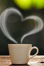 Preview iPhone wallpaper Coffee, book, cup, love heart, steam