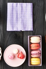 Preview iPhone wallpaper Delicious food, macaron, colorful, coffee, tea, dessert