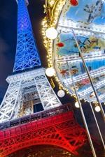 Preview iPhone wallpaper Eiffel Tower, France, Paris, carousel, night, lights