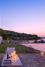 Preview iPhone wallpaper Evening, lake, pier, house, candles, dusk