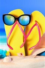 Preview iPhone wallpaper Flip flop, sunglass, starfish, hat, beach, sea