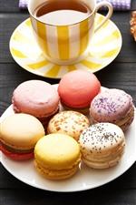 Comida, macaron, colorido, chá