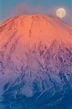 Fuji Mount, Vulcão, Neve, Lua, Japão