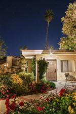 Preview iPhone wallpaper Garden, night, house, lights, stars