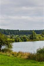 iPhone обои Германия, озеро, деревья, трава, зеленый, природа пейзаж