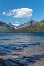 iPhone обои Национальный парк ледника, озеро, горы, небо, облака, США