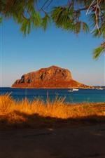 Preview iPhone wallpaper Greece, Laconia, coast, sea, island, shadow, twigs