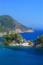 Preview iPhone wallpaper Greece, island, blue sea, Panagia