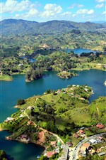 Preview iPhone wallpaper Guatape, Colombia, river, Islands, town, mountains