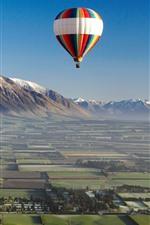 Preview iPhone wallpaper Hot air balloon, fields, sky