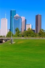 Vorschau des iPhone Hintergrundbilder Houston, Wolkenkratzer, Wiese, Brücke, Stadt, USA
