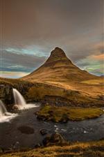 Islândia, cachoeira, montanhas, vulcão, crepúsculo