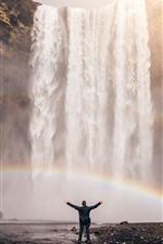 Islândia, cachoeira, arco-íris, homem
