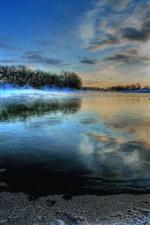 iPhone обои Остров, озеро, мороз, деревья, закат