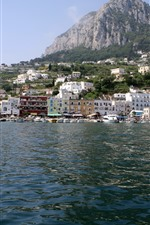 Preview iPhone wallpaper Italy, Capri, yacht, mountains, sea, houses