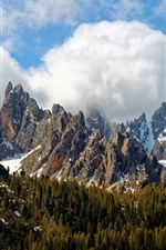 Preview iPhone wallpaper Italy, Dolomites, mountains, forest, peaks, clouds, snow