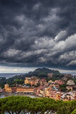 Preview iPhone wallpaper Italy, Liguria, trees, sea, city, coast, thick clouds