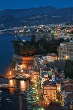 Preview iPhone wallpaper Italy, Sorrento, sea, lights, night, mountains, city