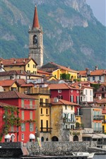 Preview iPhone wallpaper Italy, Varenna, Lombardy, mountains, sea, boats