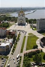 Preview iPhone wallpaper Khabarovsk, Russia, city, roads, cars, river