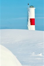 Preview iPhone wallpaper Lighthouse, thick snow