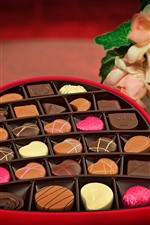 Preview iPhone wallpaper Love heart, chocolate candy, gift, romantic, flowers