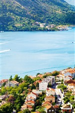 Preview iPhone wallpaper Montenegro, Kotor, sea, bay, ship, city, houses
