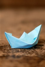 Preview iPhone wallpaper Origami, blue paper boat