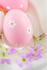 iPhone обои Розовые пасхальные яйца и цветы, украшение