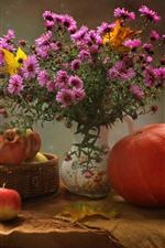 Preview iPhone wallpaper Pink flowers, apples, pumpkin, vase, still life