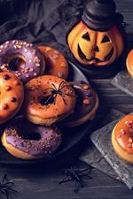 iPhone обои Тыква, пончики, паук, Хэллоуин