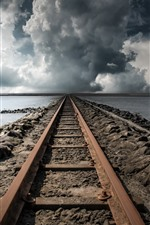 Preview iPhone wallpaper Railroad, lake, clouds, storm