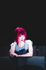 Preview iPhone wallpaper Red hair girl, chairs, interior, darkness