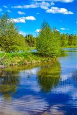 Preview iPhone wallpaper River, trees, gazebo, bridge, blue sky, summer